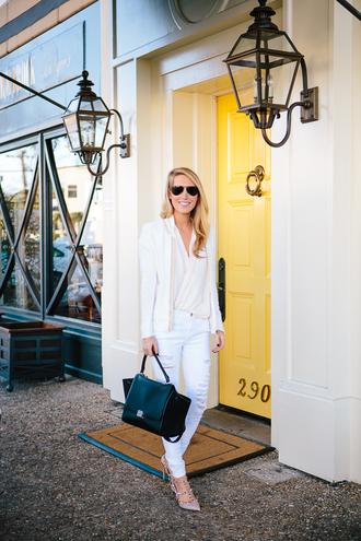 krystal schlegel blogger ripped jeans white jeans blazer jeans jacket shoes blouse bag sunglasses
