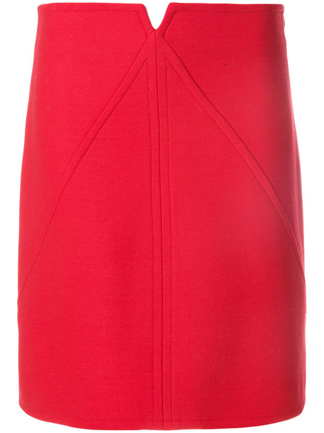 COURRÈGES skirt women spandex wool red