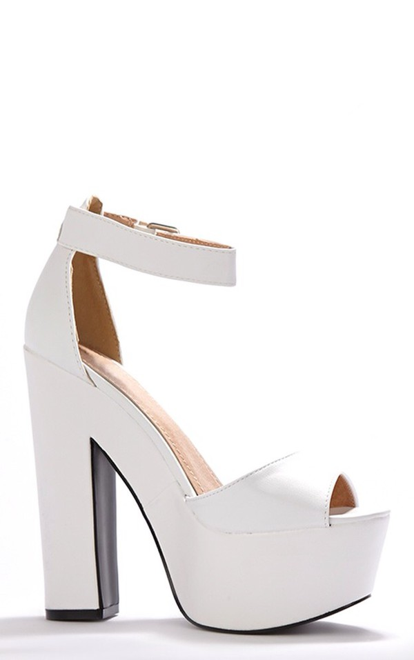 shoes white or black white heels heels platform plump