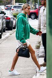 dress,hoodie,sneakers,hailey baldwin,celebrity,model off-duty,mini dress,spring outfits