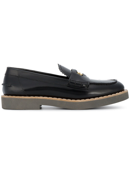Miu Miu women loafers leather black shoes