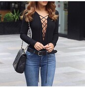 top,lace up,bodysuit,black,long sleeves,tie up,chiclook closet,sunglasses,trendy