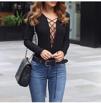 top lace up bodysuit black long sleeves tie up chiclook closet sunglasses trendy