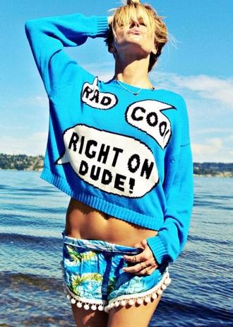 sweater blue sweater rad shorts pants