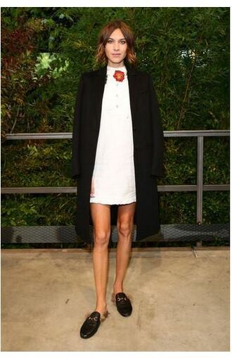 dress mini dress alexa chung fashion week flats shoes slippers