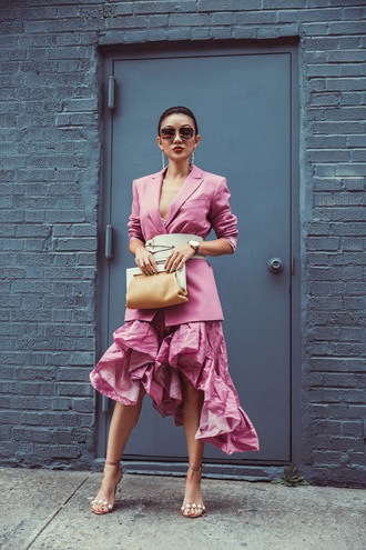 not jess fashion blogger jacket skirt belt bag shoes jewels sunglasses pink blazer pink jacket sandals clutch ruffle skirt