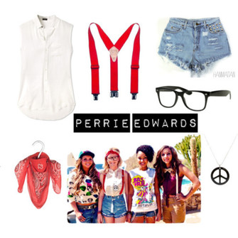 jewels shorts blouse glasses perrie edwards scarf red