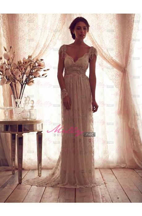 Buy sleeveless natural sweep train beading wedding dress at millybridal.net
