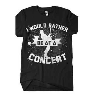 shirt would rather be at concert i would rather be at a concert music rock quote on it band t-shirt band merch black and white print