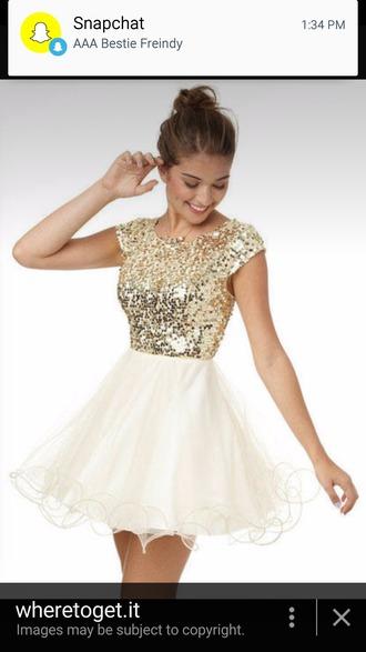 dress white gold short dress prom dress sequin dress