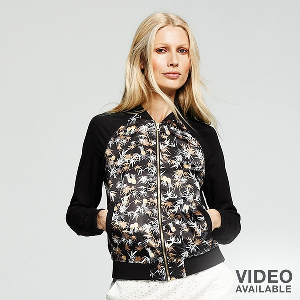 Peter Som for DesigNation Palm Leaf Bomber Jacket - Women's - Polyvore