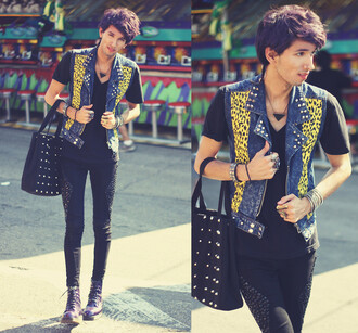 jeans menswear studded denim black bag boots vest denim vest leopard print mens shoes accessories bracelets necklace guys jacket mens denim jacket
