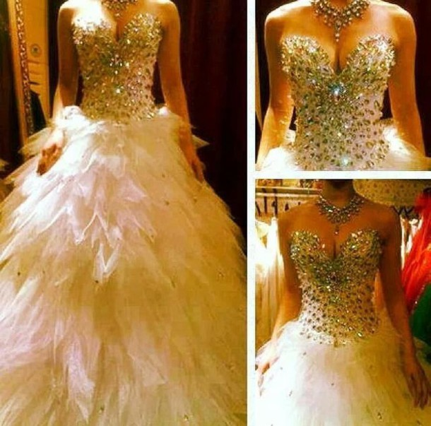 Extravagant Princess Wedding Dresses : Dress prom long white cute