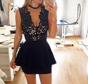 dress,black dress,cocktail dress,black,lace dress,lace,peplum,peplum dress