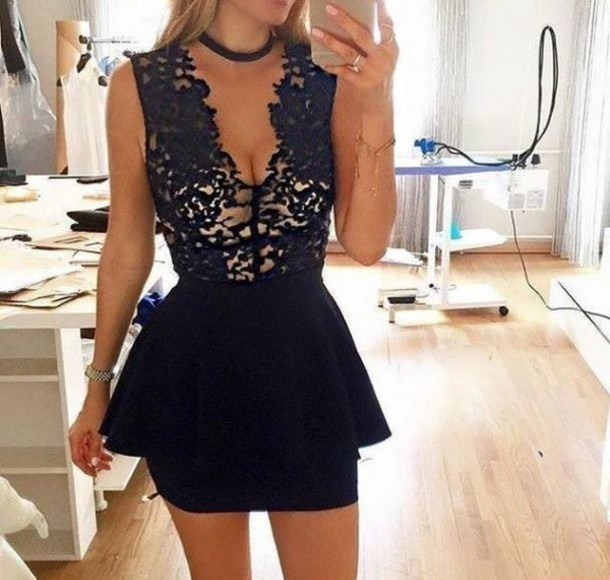 dress black dress cocktail dress black lace dress lace peplum peplum dress