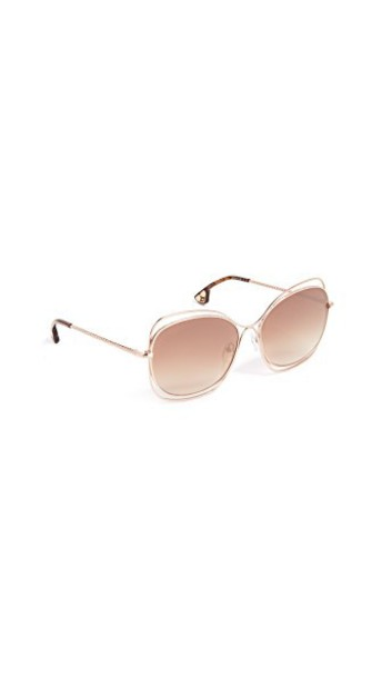 alice + olivia sunglasses rose gold rose shiny gold brown