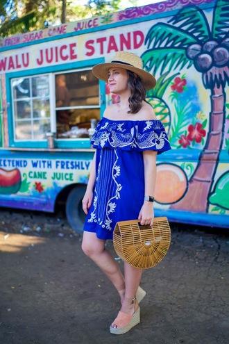 covering bases curvy blogger dress shoes hat blue dress off the shoulder dress straw hat handbag summer dress wedges