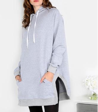 sweater girl girly girly wishlist grey grey sweater grey hoodie hoodie jumper slit oversized sweater oversized