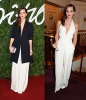jumpsuit,v neck,white,emma watson,pants,wide-leg pants,coat,formal,black jumpsuit,white blouse,white jumpsuit