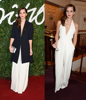 jumpsuit v-neck white emma watson pants wide-leg pants coat formal