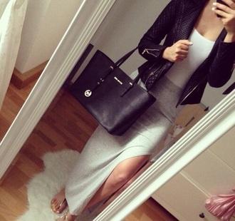 skirt grey long slit silk