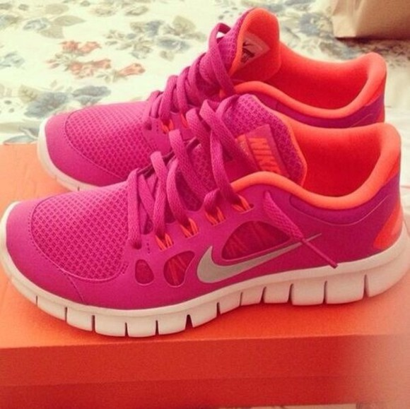shoes nike free run free run nike running shoes nike, pink, orange