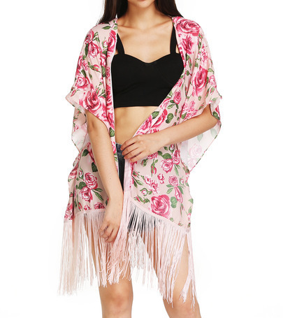 Rosey floral fringe kimono · fashion struck · online store powered by storenvy
