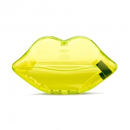Neon green perspex lips clutch
