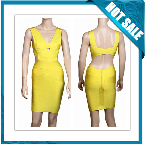 yellow dress yellow bandage dress cheap bandage dress
