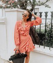 dress,wrap dress,sunglasses,bag,straw bag,black bag