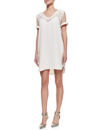 Rebecca Minkoff Lorelei V-Neck Laser-Cutout Dress