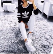 top,black,grey,white,adidas,shirt,cute,athletic,long sleeves,outfit,stay classic,sportswear,sporty
