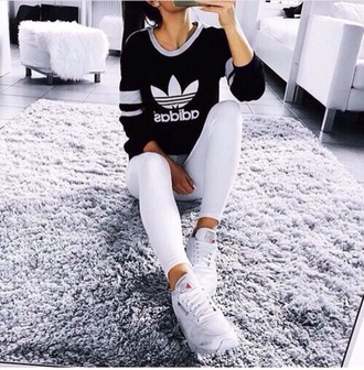 top black grey white adidas shirt style scrapbook cute streetwear streetstyle athletic long sleeves outfit stay classic sportswear sporty