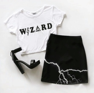 wizard harry potter t-shirt crop tops white witch cropped t-shirt halloween skirt