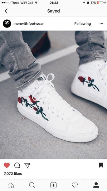 shoes white vans vans of the wall rose embroidered