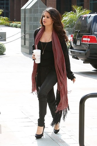 cardigan selena gomez scarf top jeans shoes
