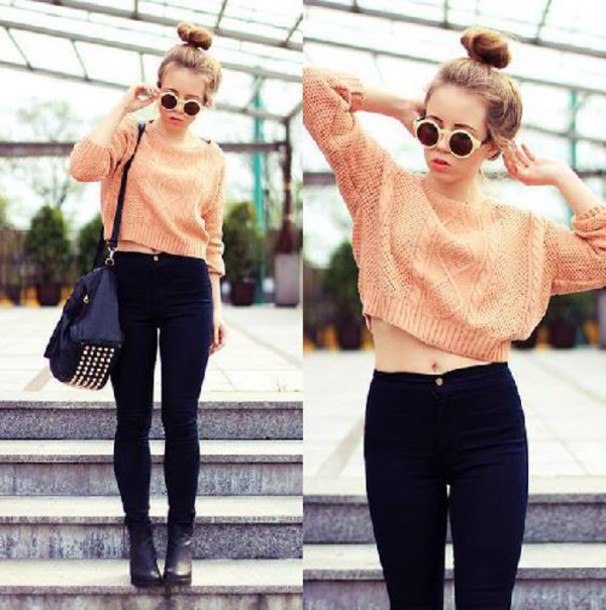 Sweater studded cardigan jumper crop tops cropped cropped sweater top clothes pants ...