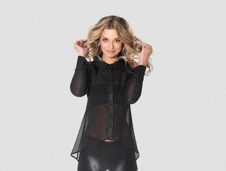 blouse black staple basics blackmilk collar fashion blonde hair nylon cotton sheer blackmilkclothing