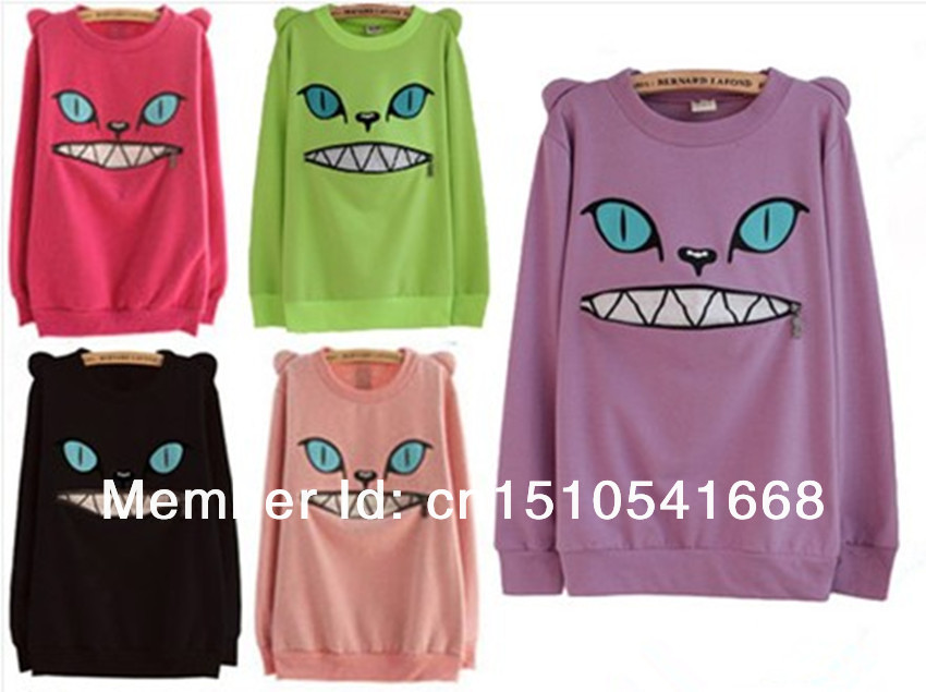 Hot Sale ~ Zipper Smile Mouth Shoulder 3D Ear Cat Jumper Sweater Crew neck Long Sleeve Hoodie Sweatshirt Pullover Tops-in Hoodies & Sweatshirts from Apparel & Accessories on Aliexpress.com