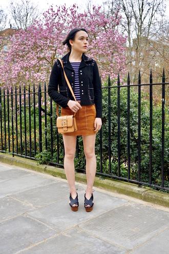 la petite anglaise blogger jacket dress bag shoes scarf mini skirt shoulder bag sandals spring outfits