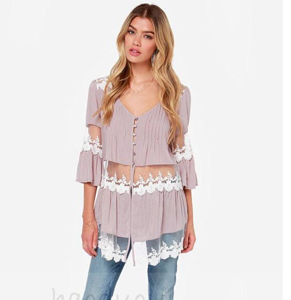 blouse lace patchwork  blouse lovely pepa