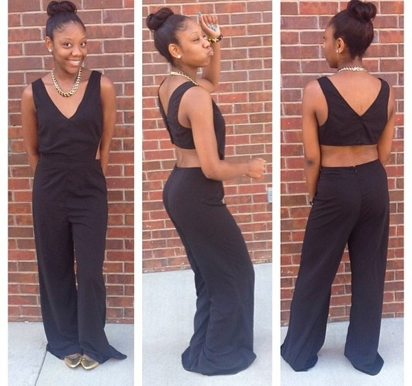 dress black jumpsuit open back cut-out