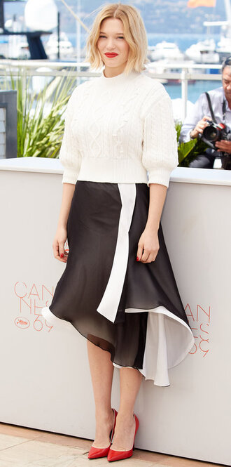 skirt sweater cannes pumps léa seydoux asymmetrical skirt asymmetrical