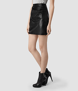 Womens Raye Leather Skirt (Black) | ALLSAINTS.com