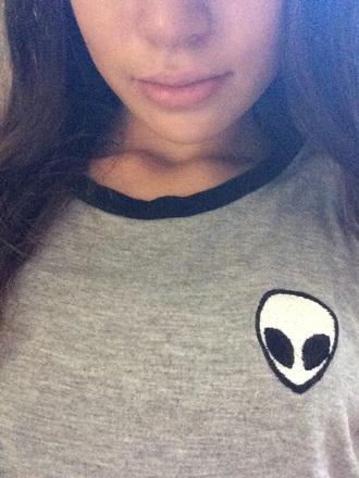 shirt brandy melville alien style grey t-shirt alien shirt