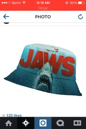 hat,bucket hat,denim,movies,movies and brands,movie shirt,dope,dope shit,hats sunglasses,summer outfits,shark,ocean,chris brown,chinese,sea creatures