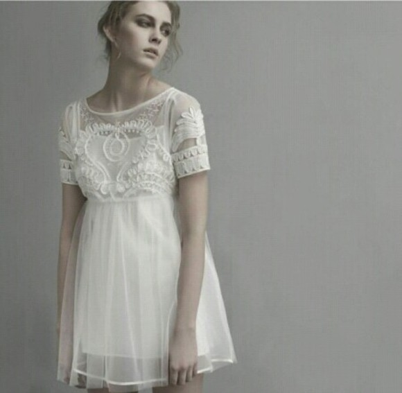 embroidery ivory embroidered chiffon topshop feminine smock dress