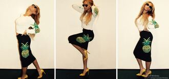 skirt top pencil skirt beyonce pumps sunglasses