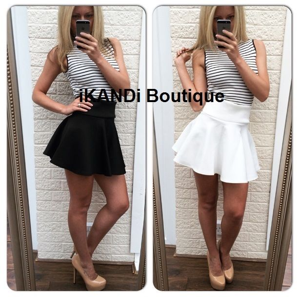 Ladies Sexy Black Party White Extra Short Flared Tutu Pleated Mini ...