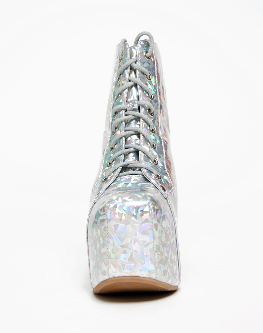 Buy Jeffrey Campbell Lita Boot in Silver Hologram at Motel Rocks